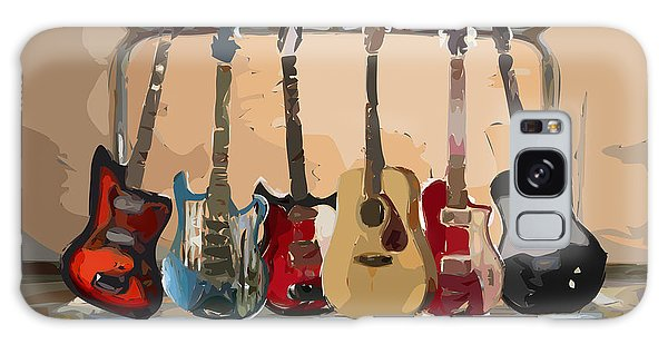 Musical Galaxy Case - Guitars On A Rack by Arline Wagner