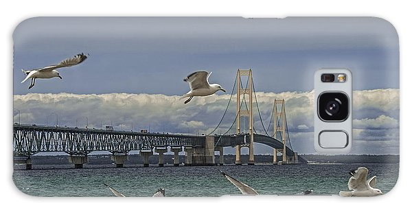 Gulls Flying By The Bridge At The Straits Of Mackinac Galaxy Case