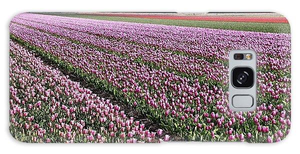 Half Side Purple Tulip Field Galaxy Case by Mihaela Pater