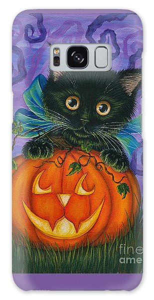 Galaxy Case featuring the painting Halloween Black Kitty - Cat And Jackolantern by Carrie Hawks