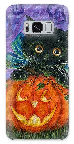 Halloween Black Kitty - Cat And Jackolantern Galaxy Case