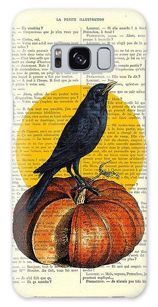 Halloween Galaxy Case - Halloween Pumpkin And Crow Decoration by Madame Memento