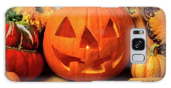 Indian Corn Galaxy Case - Halloween Pumpkin Smiling by Garry Gay