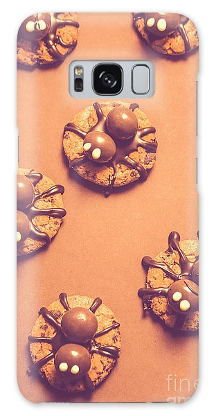 Decorative Galaxy Case - Halloween Spider Cookies On Brown Background by Jorgo Photography - Wall Art Gallery