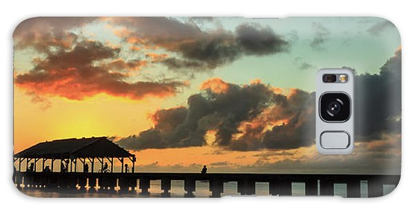 Hanalei Pier Sunset Panorama Galaxy Case by James Eddy