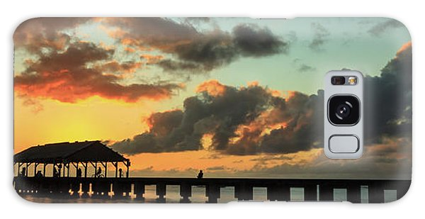 Hanalei Pier Sunset Panorama Galaxy Case