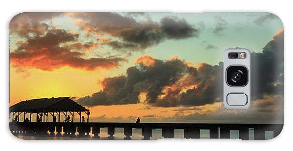 Hanalei Pier Sunset Panorama Galaxy Case