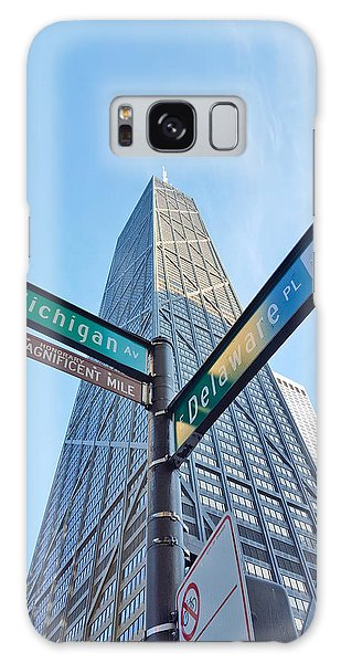 Hancock Building With Street Signs Galaxy Case by Matthew Bamberg