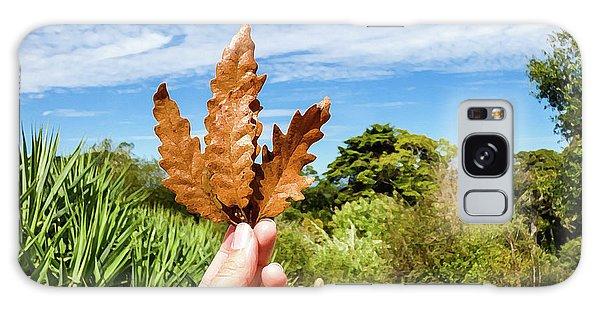 Hand Holding A Beautiful Oak Leaf Galaxy Case