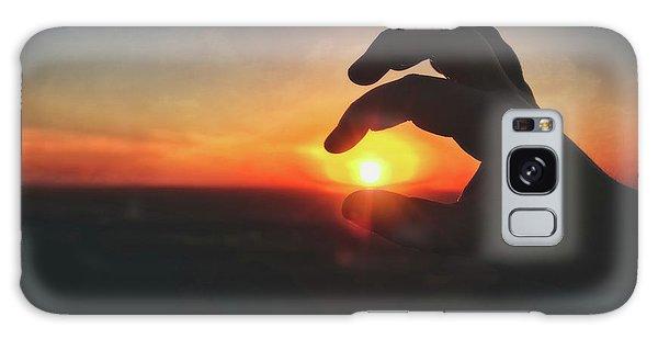 Hand Silhouette Around Sun - Sunset At Lapham Peak - Wisconsin Galaxy Case by Jennifer Rondinelli Reilly - Fine Art Photography