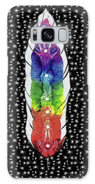 Galaxy Case featuring the mixed media Hand Totem Feather by Kym Nicolas