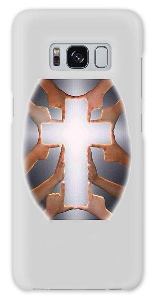 Hands Cross T-shirt Galaxy Case by Herb Strobino