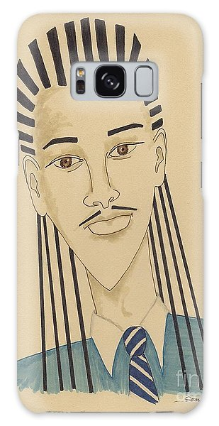 Handsome Young Man -- Stylized Portrait Of African-american Man Galaxy Case
