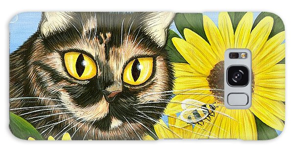 Hannah Tortoiseshell Cat Sunflowers Galaxy Case by Carrie Hawks