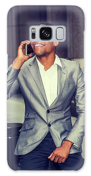 Happy African American Businessman Working In New York 15082323 Galaxy Case