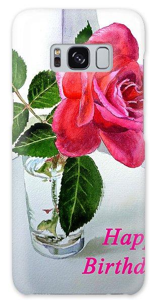 Happy Birthday Card Rose  Galaxy Case by Irina Sztukowski