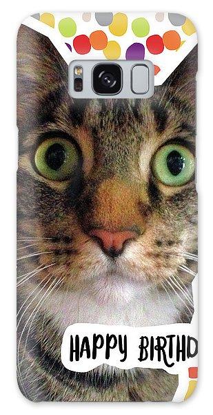 Tabby Galaxy Case - Happy Birthday Cat- Art By Linda Woods by Linda Woods