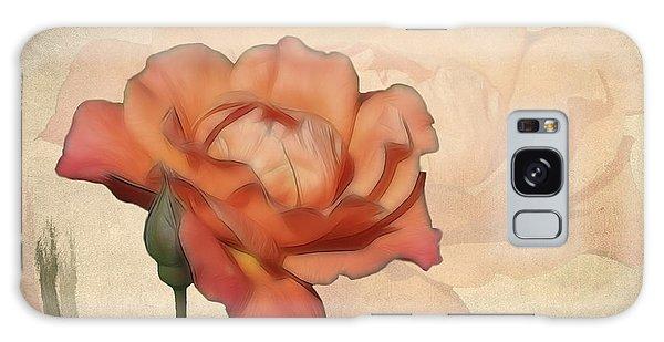 Happy Birthday Peach Rose Card Galaxy Case