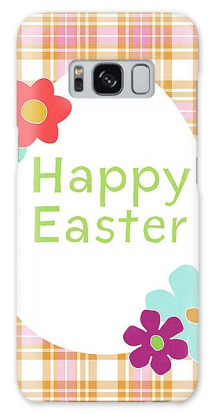 Eggs Galaxy Case - Happy Easter Egg Pink Plaid- Art By Linda Woods by Linda Woods