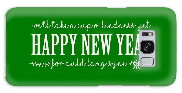 Galaxy Case featuring the digital art Happy New Year Auld Lang Syne Lyrics by Heidi Hermes