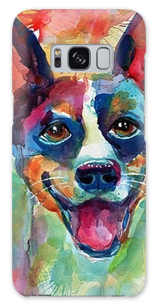 Happy Rat Terrier Watercolor Portrait Galaxy Case