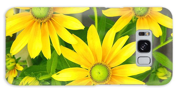 Happy Yellow Summer Cone Flowers In The Garden Galaxy Case by Amy McDaniel