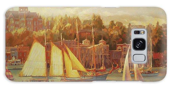Docked Boats Galaxy Case - Harbor Faire by Steve Henderson