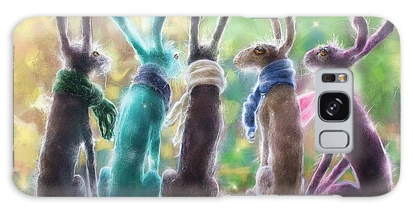 Hares With Scarves Galaxy Case by Debra Baldwin