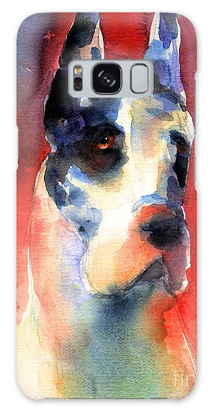Watercolor Pet Portraits Galaxy Case - Harlequin Great Dane Watercolor Painting by Svetlana Novikova