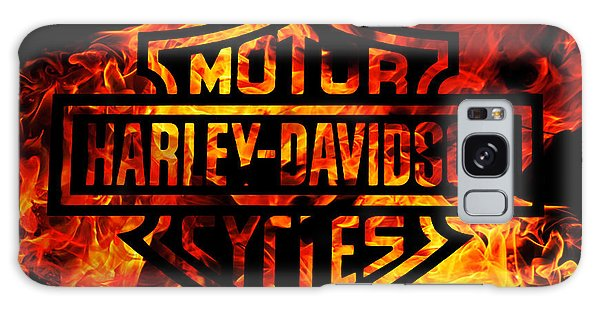 Motorcycle Galaxy S8 Case - Harley Davidson Logo Flames by Randy Steele