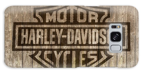 Harley Davidson Logo On Wood Galaxy Case