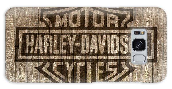 Harley Davidson Logo On Wood Galaxy Case by Randy Steele