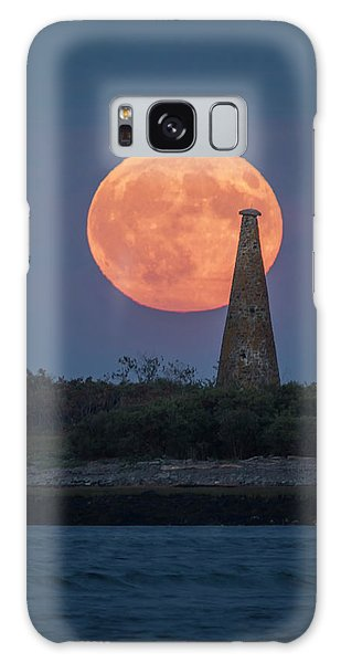 Harvest Moon Over Stage Island, Maine Galaxy Case