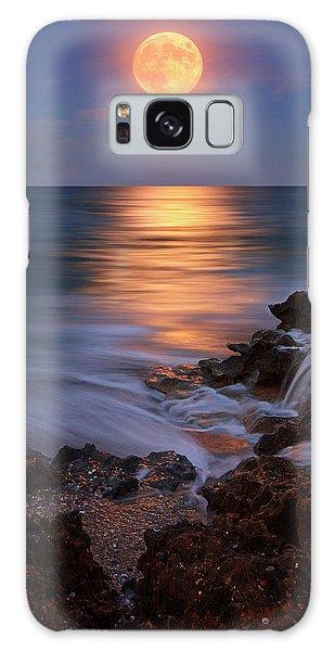 Harvest Moon Rising Over Beach Rocks On Hutchinson Island Florida During Twilight. Galaxy Case by Justin Kelefas