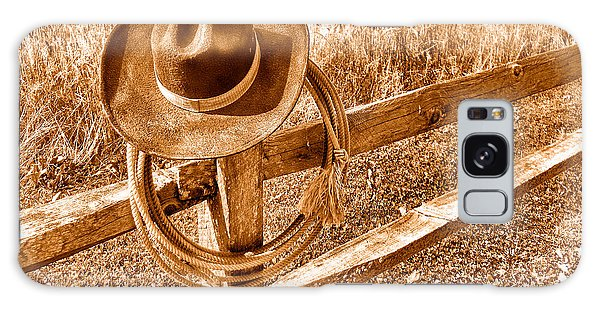 Fence Post Galaxy Case - Hat And Lariat - Sepia by Olivier Le Queinec