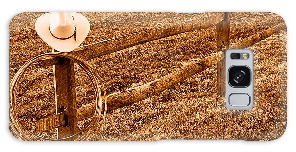 Fence Post Galaxy Case - Hat And Lasso On Fence - Sepia by Olivier Le Queinec