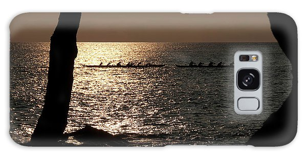 Hawaiian Dugout Canoe Race At Sunset Galaxy Case