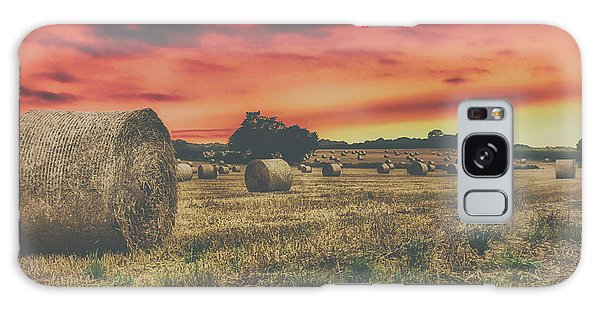 Haybale Galaxy Case - Hay Bales Sunset by Martin Newman