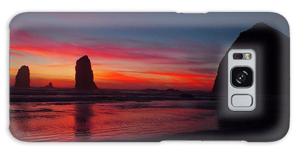 Haystack Rock At Sunset Galaxy Case