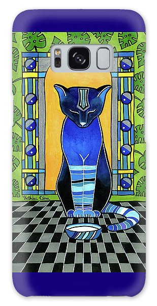 Galaxy Case featuring the painting He Is Back - Blue Cat Art by Dora Hathazi Mendes
