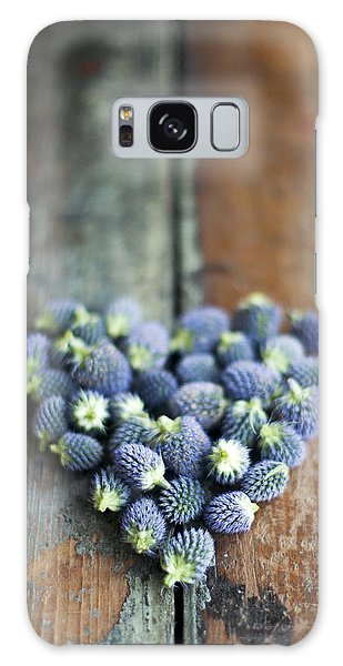 Heart Shaped Blue Thistle Buds Galaxy Case