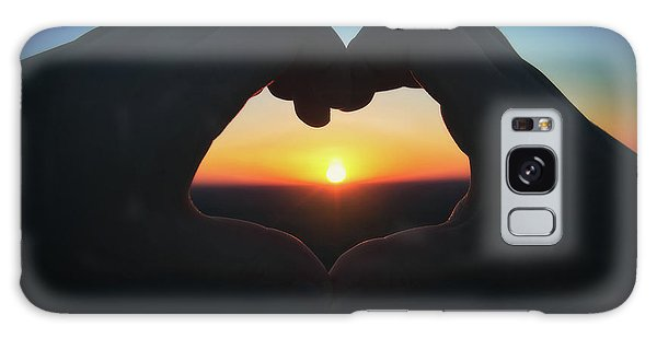 Heart Shaped Hand Silhouette - Sunset At Lapham Peak - Wisconsin Galaxy Case by Jennifer Rondinelli Reilly - Fine Art Photography