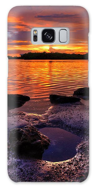 Heart Shaped Pool At Sunset Over Lake Worth Lagoon On Singer Island Florida Galaxy Case