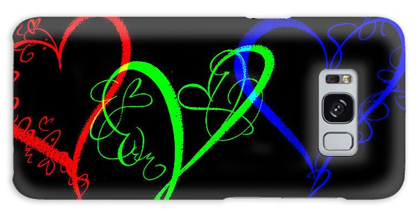Hearts On Black Galaxy Case by Swank Photography