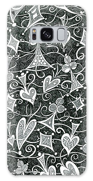 Hearts, Spades, Diamonds And Clubs In Black Galaxy Case by Lise Winne