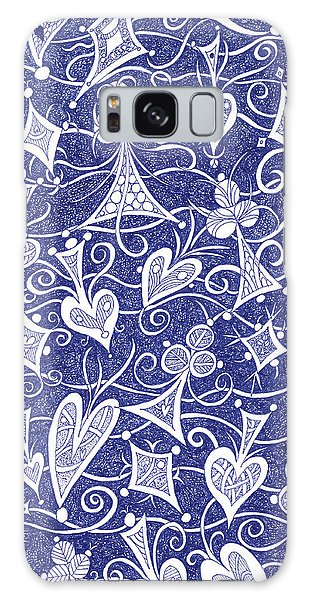 Hearts, Spades, Diamonds And Clubs In Blue Galaxy Case by Lise Winne