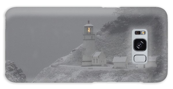 Heceta Lighthouse Snowstorm Galaxy Case