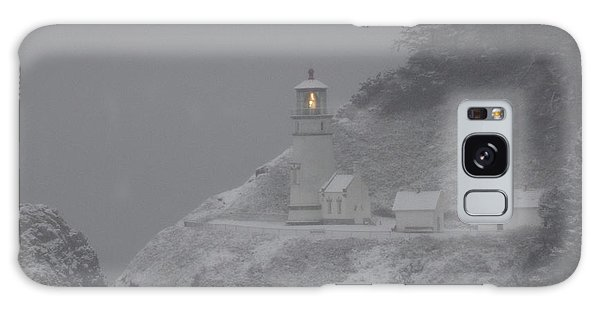 Heceta Lighthouse Snowstorm Galaxy Case by Kenny Henson
