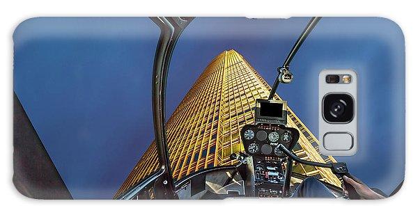 Helicopter On Skyscaper Facade Galaxy Case