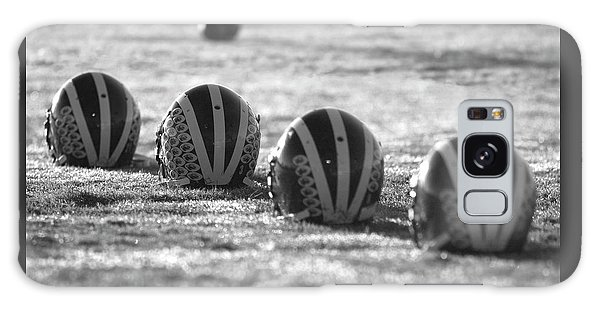 Helmets On Dew-covered Field At Dawn Black And White Galaxy Case